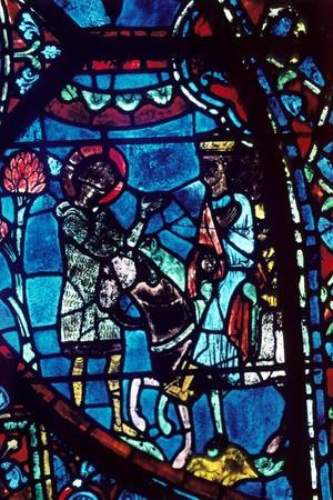 Baudoin tells Charlemagne of the death of Roland, stained glass, Chartres Cathedral, 1194-1260