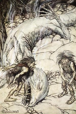 The dwarves quarrelling over the body of Fafner', 1924