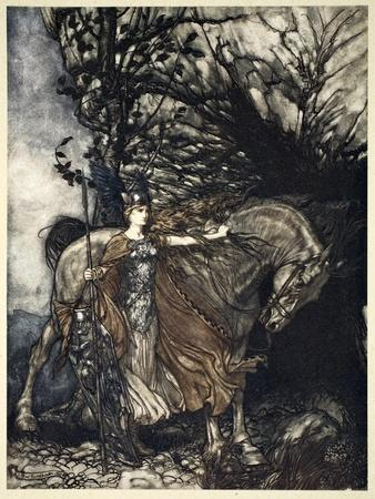 Brunnhilde with her horse at the mouth of the cave', 1910
