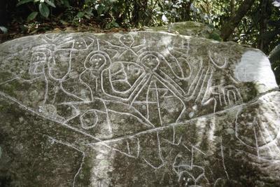 Arawak petroglyph known as the Carib stone, Caurita, Trinidad, Trinidad & Tobago, c1000-1500