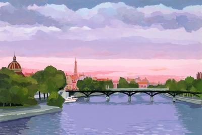 Sunset in Paris, the Seine river