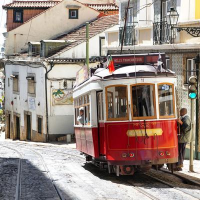 Welcome to Portugal Square Collection - Red Tram Old Town Lisbon
