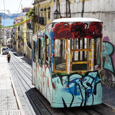 Welcome to Portugal Square Collection - Lisbon Tram Graffiti