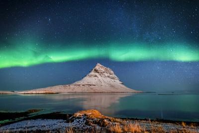 Aurora Borealis or Northern lights with the Milky Way Galaxy, Mt. Kirkjufell, Grundarfjordur, Sn...