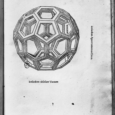 """Icosahedron, from """"De Divina Proportione"""" by Luca Pacioli, Published 1509, Venice"""