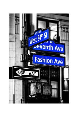NYC Street Signs in Manhattan by Night - 34th Street, Seventh Avenue and Fashion Avenue Signs