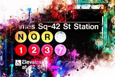 NYC Watercolor Collection - Times Sq-42 St Station