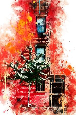 NYC Watercolor Collection - Red Facade