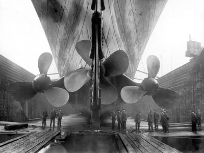 The Rms Titanic's Propellers as the Mighty Ship Sits in Dry Dock
