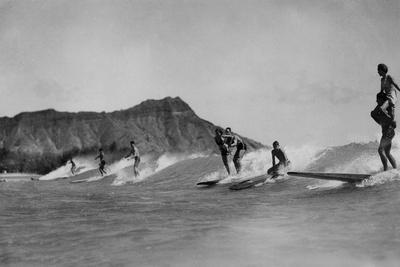 Honolulu, Hawaii - Surfers off Waikiki Beach Photograph