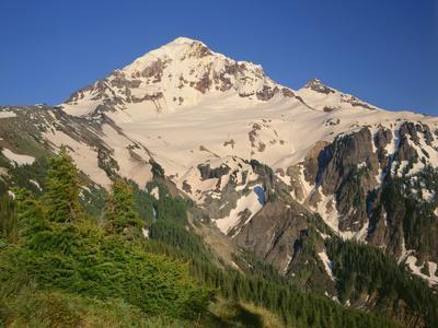 Oregon. Mount Hood NF, Mount Hood Wilderness, evening light on the west side of Mount Hood