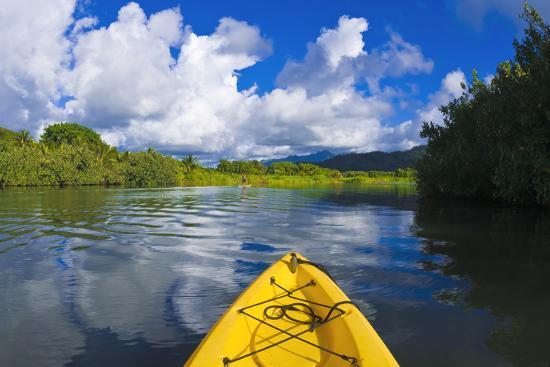 Kayak on the tranquil Hanalei River, Island of Kauai, Hawaii
