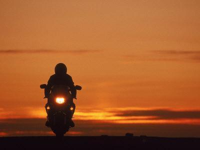 Silhouetted Motorcyclist at Sunset, Marin City, CA