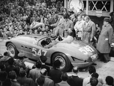 G Marzotto in a 4.1 Ferrari, Taking Part in the Mille Miglia, 1953