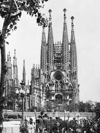 The Cathedral of the Sagrada Familia in Barcelona, 1939
