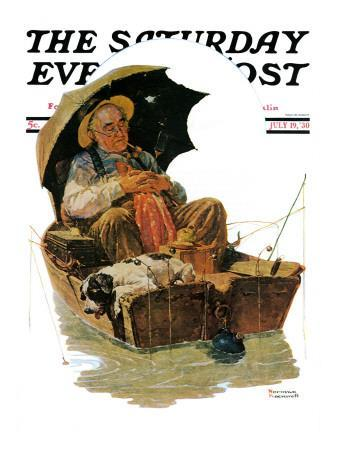 """""""Gone Fishing"""" Saturday Evening Post Cover, July 19,1930"""
