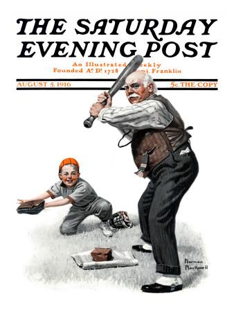 """Gramps at the Plate"" Saturday Evening Post Cover, August 5,1916"
