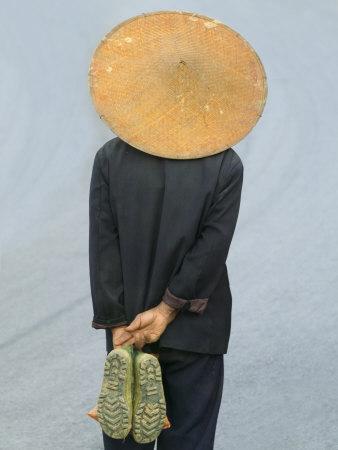 Farmer Wearing Bamboo Hat, Yunnan Province, China