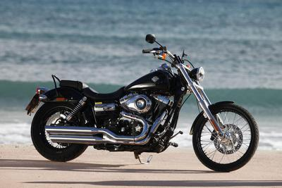 Motorcycle, Cruiser, Harley Davidson Wide Glide, Black, Sea in the Background, Side Standard Right