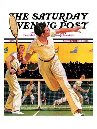 """""""Doubles Tennis Match,"""" Saturday Evening Post Cover, September 5, 1936"""