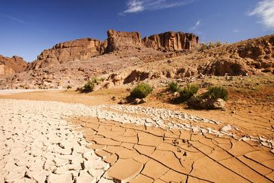 Dried up river bed in the Anti Atlas mountains of Morocco, North Africa
