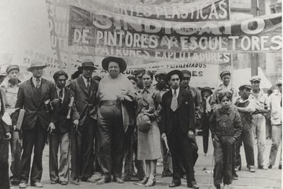 Diego Rivera and Frida Kahlo in the May Day Parade, Mexico City, 1st May 1929