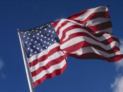 American Flag Flaps in Wind, Cle Elum, Washington, USA