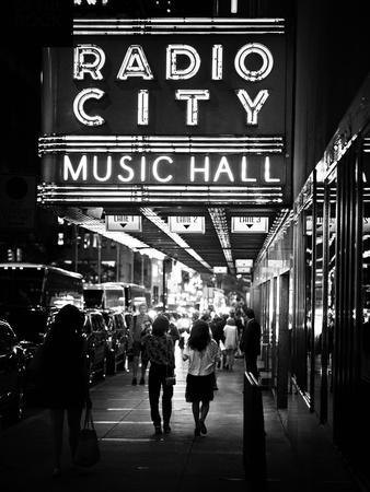 Urban Scene, Radio City Music Hall by Night, Manhattan, Times Square, New York, White Frame