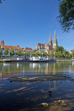 Germany, Bavaria, Regensburg, Danube Shore, Museum Ship, Cathedral