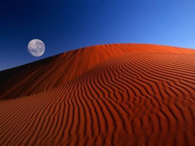Full Moon over Red Dunes