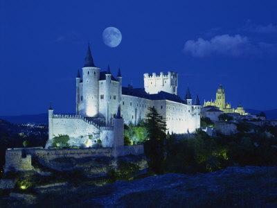 View of Castle Illuminated, Segovia, Spain, Europe