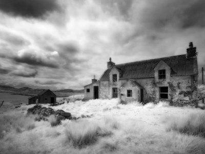 Infrared Image of a Derelict Farmhouse Near Arivruach, Isle of Lewis, Hebrides, Scotland, UK