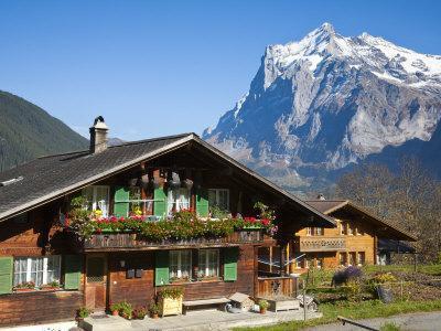 Traditional Houses, Wetterhorn and Grindelwald, Berner Oberland, Switzerland