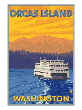Ferry and Mountains, Orcas Island, Washington