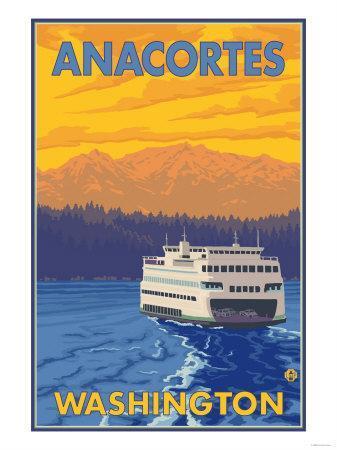 Ferry and Mountains, Anacortes, Washington