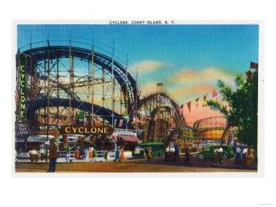 Coney Island, New York - View of the Cyclone Rollercoaster No. 1