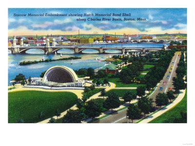 Boston, MA - Aerial View of Hatch Memorial Band Shell, Charles River