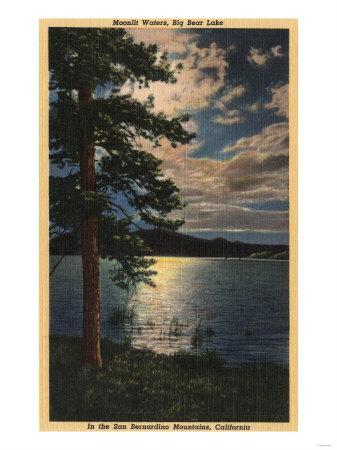 Big Bear Lake, California - Moonlit View of the Lake