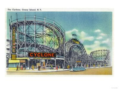 Coney Island, New York - View of the Cyclone Rollercoaster No. 2