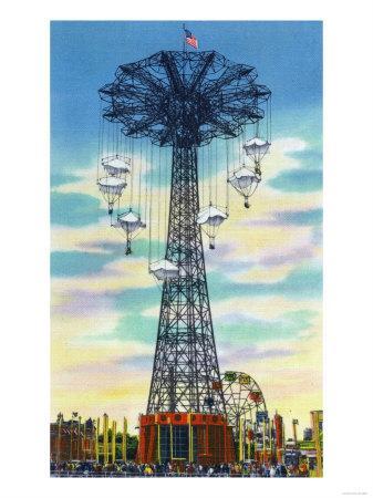 Coney Island, New York - Steeplechase Park Parachute Jump Daytime Scene
