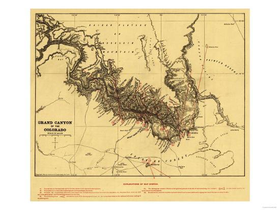 Grand Canyon Of Colorado River Panoramic Map