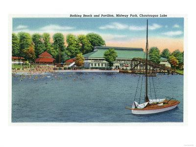 Chautauqua Lake, New York - View of Midway Park Beach and Pavilion