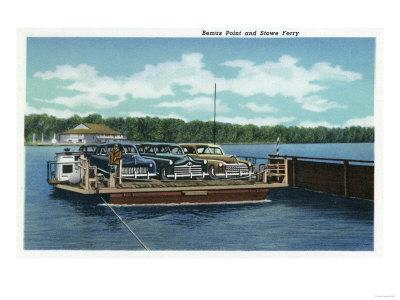 Chautauqua Lake, New York - View of the Bemus Point and Stow Ferry