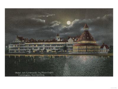 Coronado, CA - Moonlit View of Hotel del Coronado
