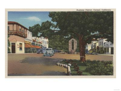 Carmel, CA - Street Scene with Trees and Shops