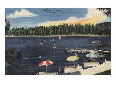 Lake Arrowhead, California - View of Lake, Tree-Lined Shore