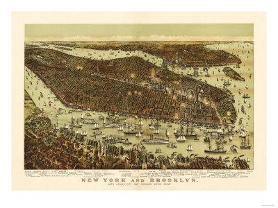 New York City, New York - Panoramic Map