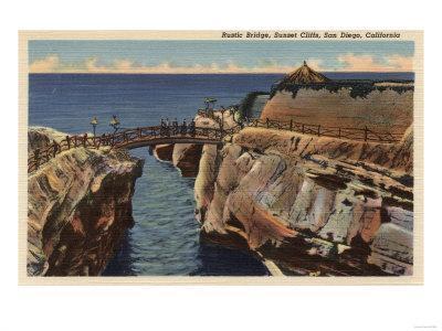 San Diego, California - View of the Rustic Bridge & Sunset Cliffs