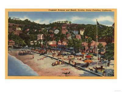 Santa Catalina, California - Avalon View of Crescent Ave. & Beach