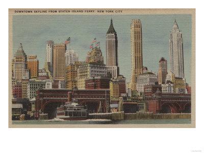 New York, NY - Downtown Skyline from Staten Island